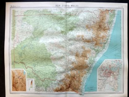Bartholomew 1922 Large Map. Australia, New South Wales.